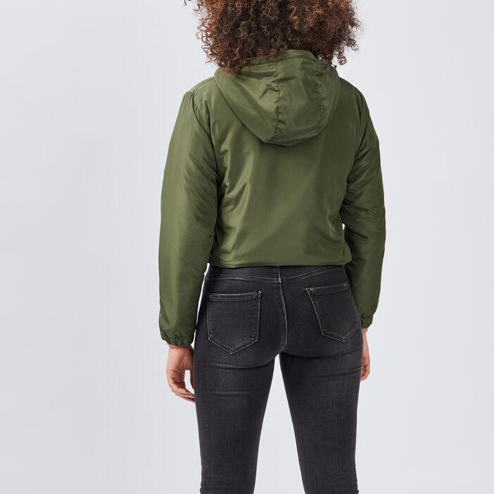 Blouson droit à capuche femme vert kaki