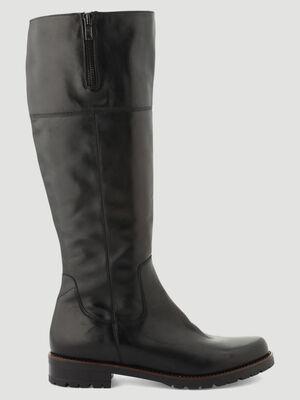 Bottes en cuir detail zip noir femme