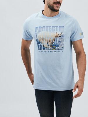 T shirt National Geographic bleu ciel homme