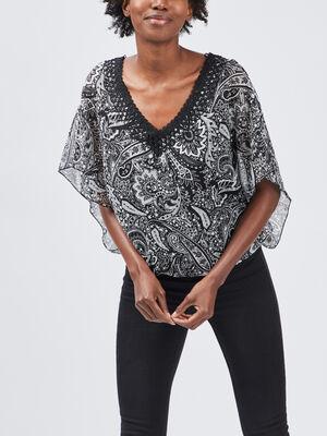 Tunique manches courtes noir femme