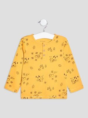 T shirt manches longues jaune moutarde bebeg