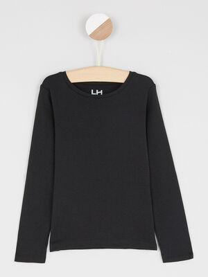 T shirt uni en coton noir fille