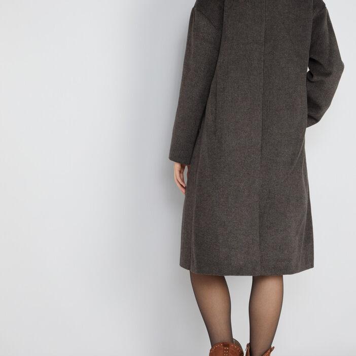 Manteau long chiné large col femme marron