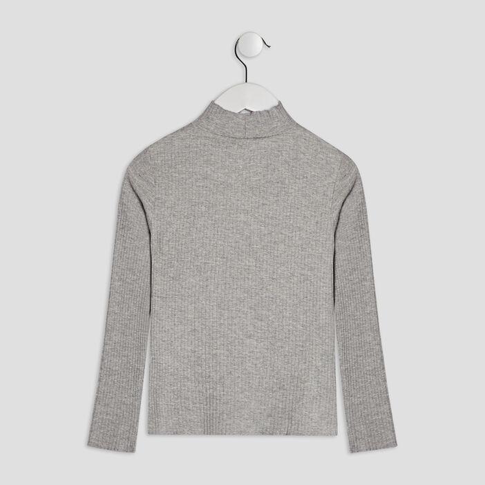 T-shirt manches longues côtelé fille gris