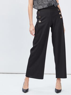 Pantalon ample a pont noir femme