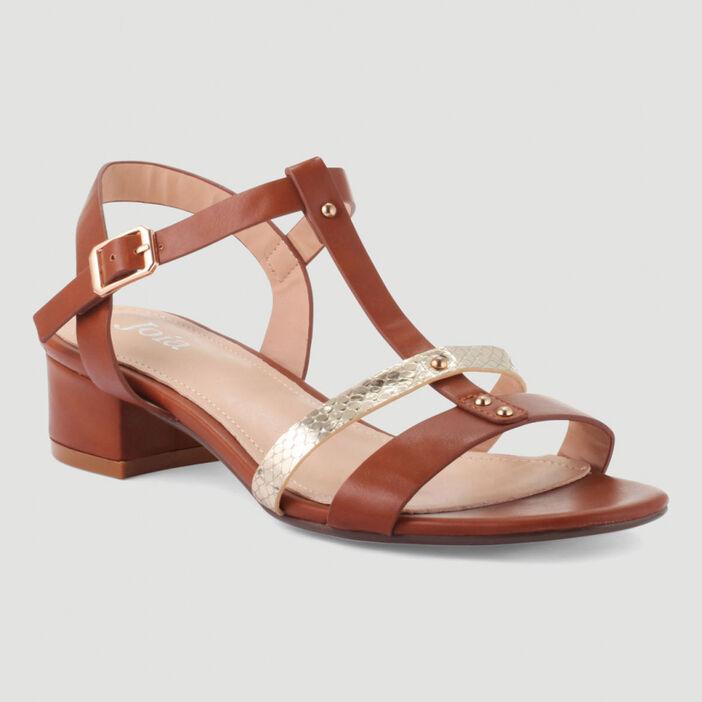 Sandales à brides et rivets femme marron