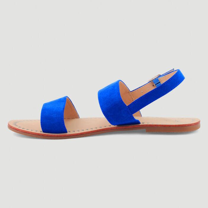 Sandales plates à double bride femme bleu