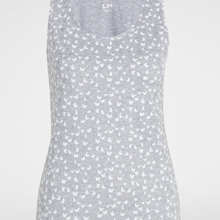 Débardeur imprimé bretelles larges femme gris clair