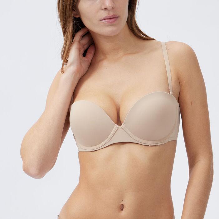 Soutien-gorge maxi push-up femme beige