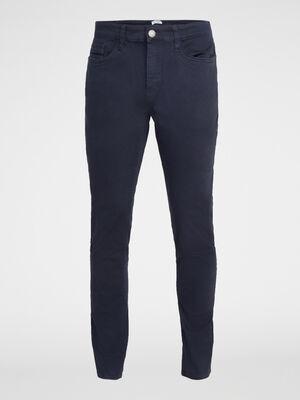 Pantalon 5 poches coton majoritaire bleu marine homme