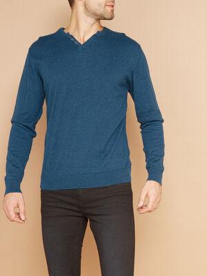 Pull uni en coton majoritaire bleu turquoise homme