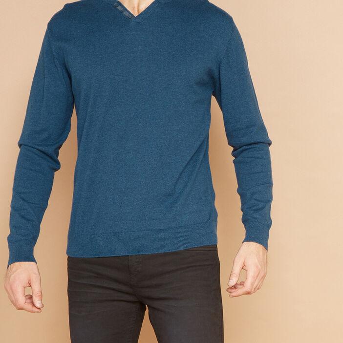 Pull uni en coton majoritaire homme bleu turquoise
