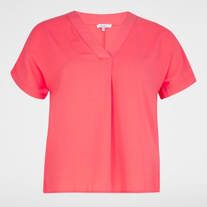 Chemise manches courtes femme grande taille rose framboise