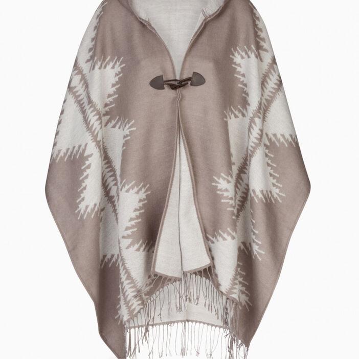 Poncho à capuche motif graphique femme taupe
