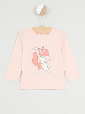 T shirt manches longues avec imprime rose clair fille