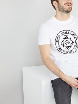 T shirt en coton avec imprime blanc homme