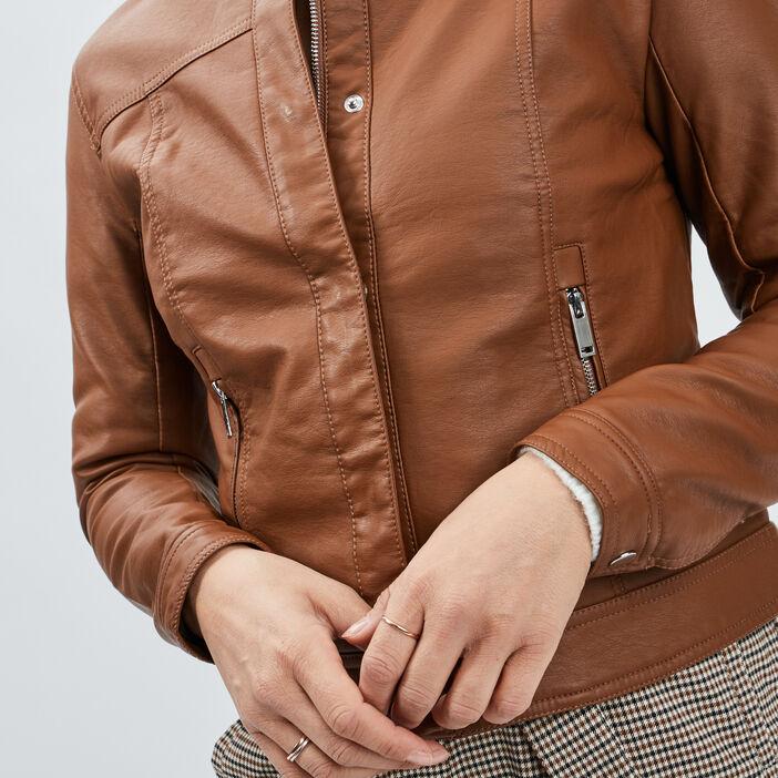 Blouson simili cuir ajusté à col rond femme camel