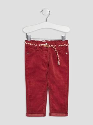 Pantalon slim effet velours prune bebef
