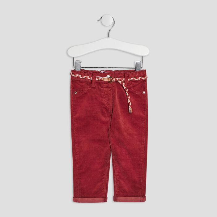 Pantalon slim effet velours bébé fille prune