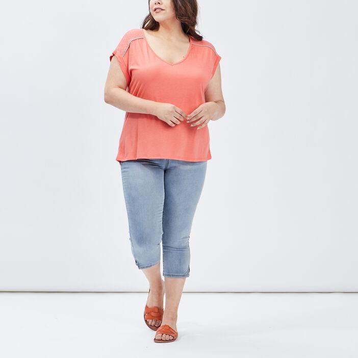 T-shirt femme grande taille orange corail