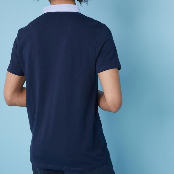 Polo bicolore en coton majoritaire homme bleu marine