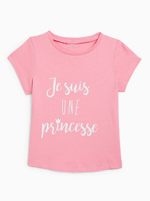 T shirt uni a message rose fille