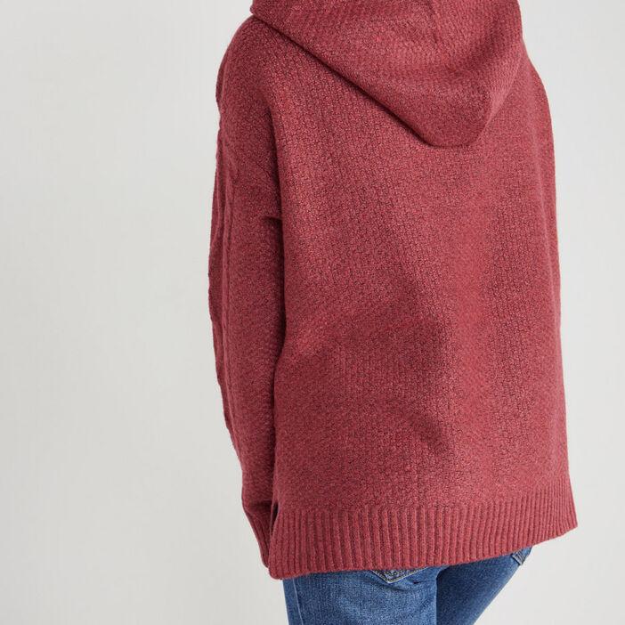 Pull à capuche avec torsades femme rose framboise