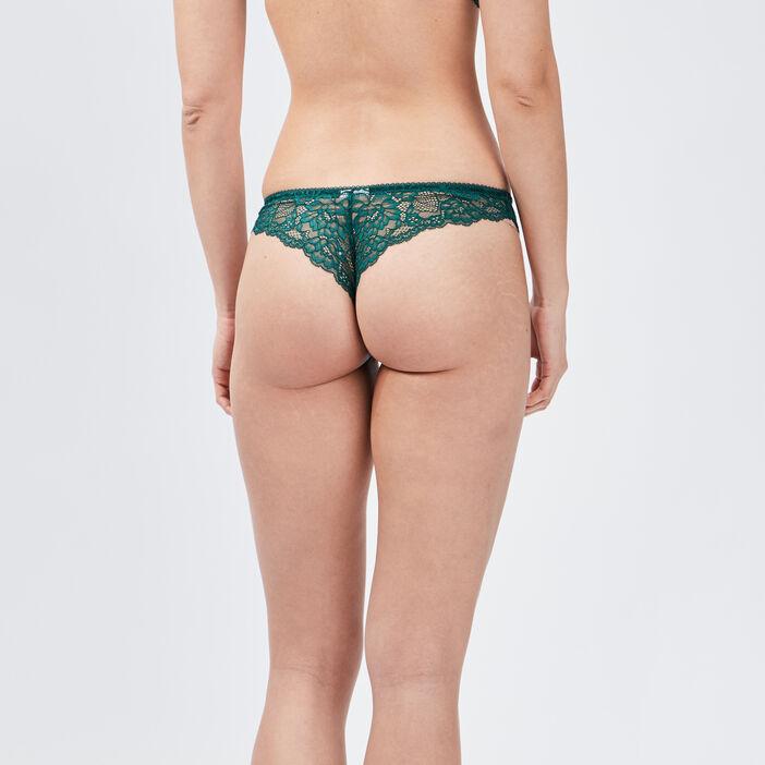 Culotte tanga avec dentelle femme vert