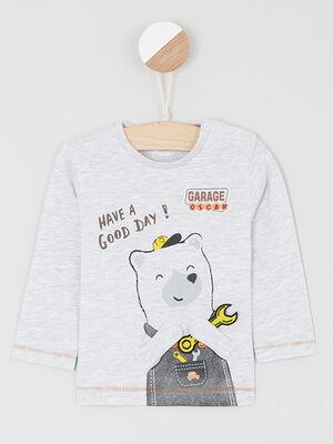 T shirt boutonne avec imprime ecru garcon