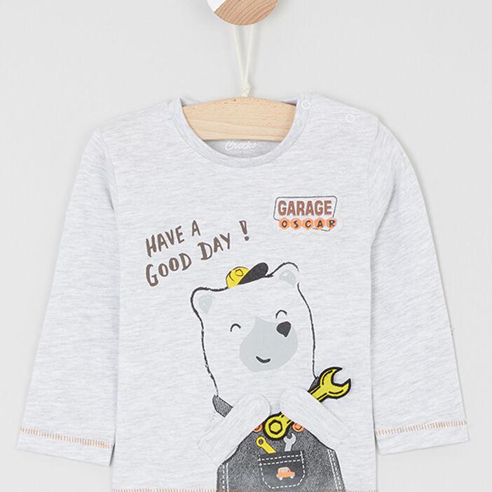 T-shirt boutonné avec imprimé garçon ecru