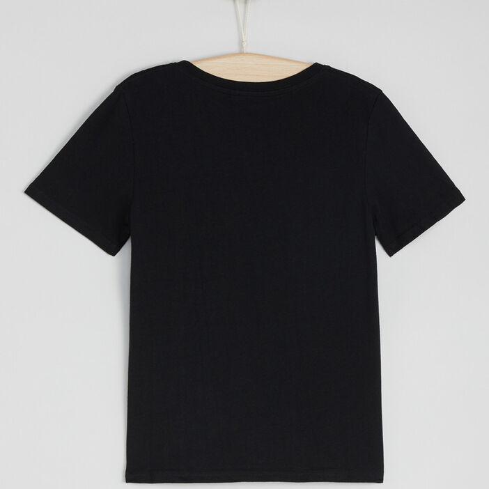 T-shirt en coton col V garçon noir