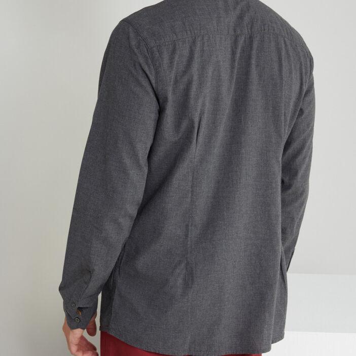 Chemise manches longues coton uni homme gris