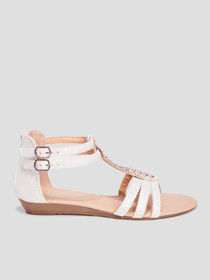 Sandales a ornements blanc fille