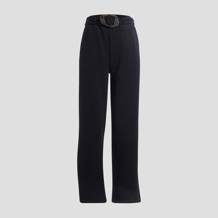 Pantalon large ceinturé femme noir