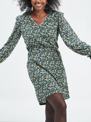 Robe droite manches longues vert femme
