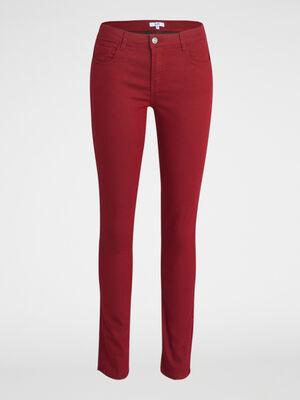 Pantalon skinny uni bordeaux femme