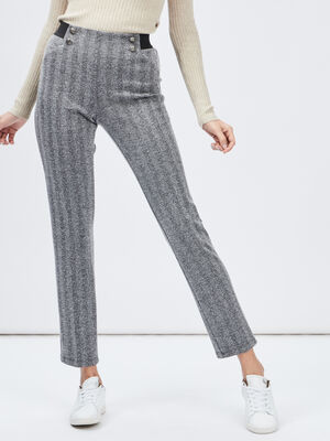 Pantalon droit taille haute gris fonce femme