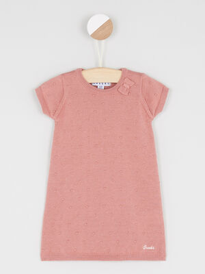 Robe trapeze maille unie rose fille