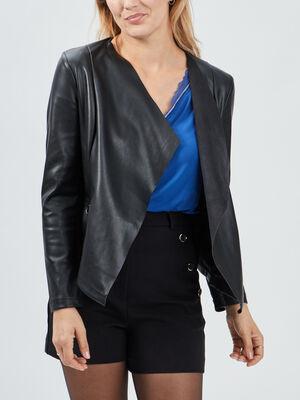 Veste droite simili cuir a col chale noir femme