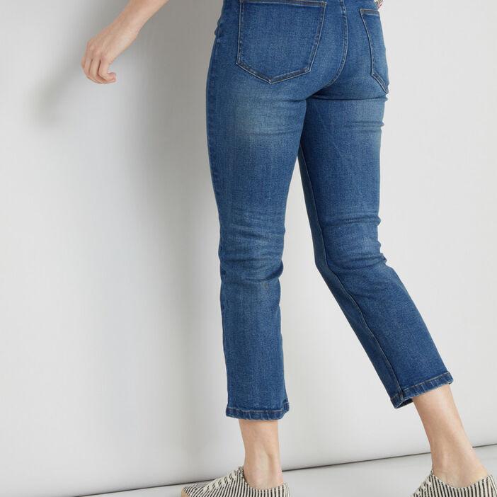 Jean droit 5 poches femme denim stone