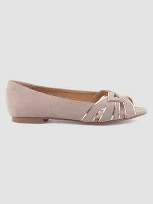 Ballerines bout ouvert taupe femme