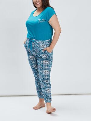 Ensemble pyjama 2 pieces bleu turquoise femmegt