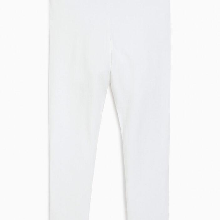 Legging coton majoritaire uni fille blanc