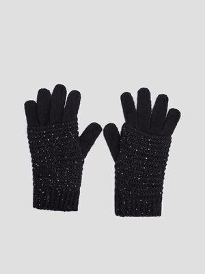 Gants tricotes avec sequins noir mixte