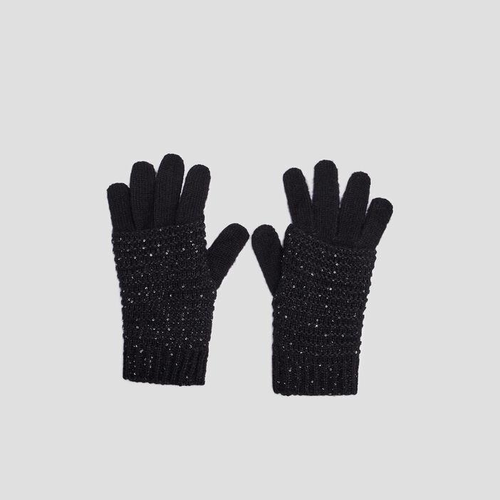 Gants tricotés avec sequins mixte noir