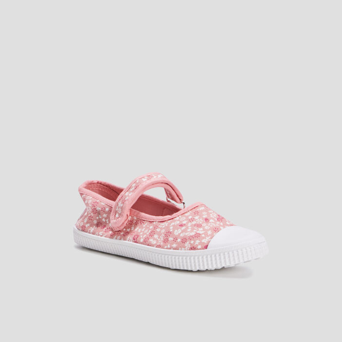 Babies en toile avec broderie fille rose