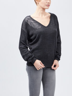 Pull avec strass Mosquitos gris fonce femme