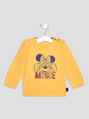 T shirt manches longues Minnie jaune moutarde bebef