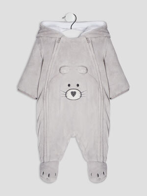 Combinaison a capuche zippee gris clair bebeg