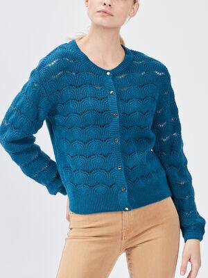 Gilet manches longues ajoure bleu canard femme